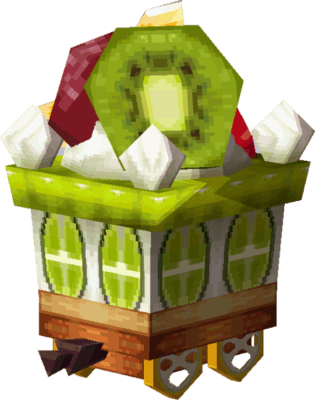 A pixel sprite of the passenger cake car from the dessert train from the Legend of Zelda Spirit Tracks game series.