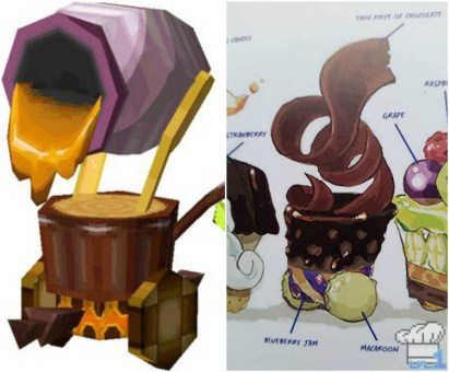 Artistic comparison of the cannon car in the game Legend of Zelda Spirit Tracks versus the Hyrule Historia book art.