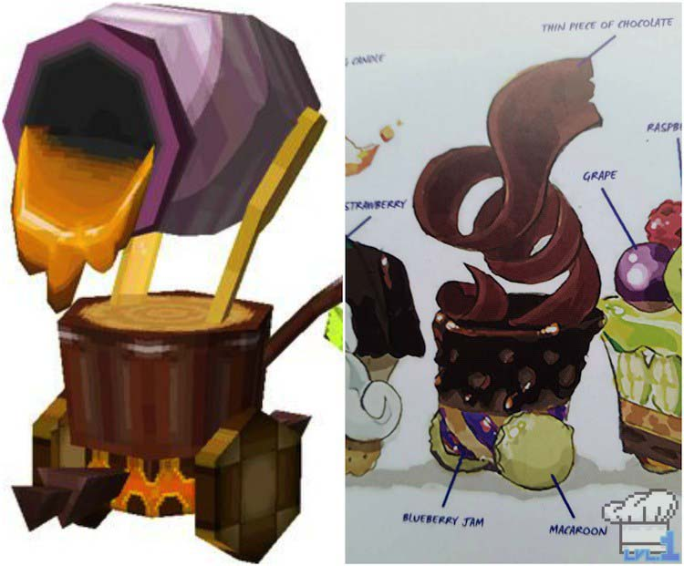 Artistic comparison of the cannon car in the game Legend of Zelda Spirit Tracks versus the Hyrule Historia book art.