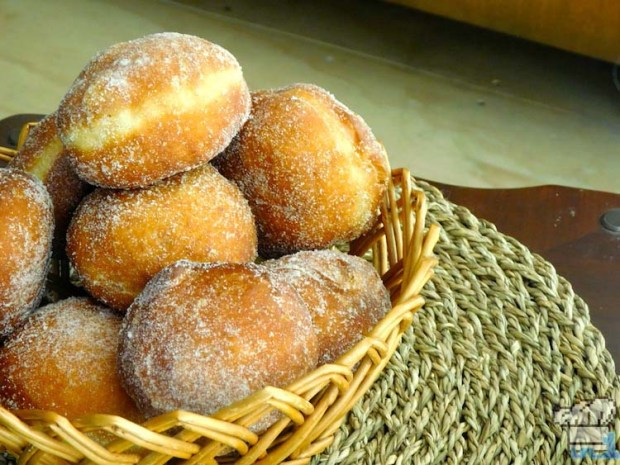 A basket full of sugared malasada doughnuts from the Pokemon game series.