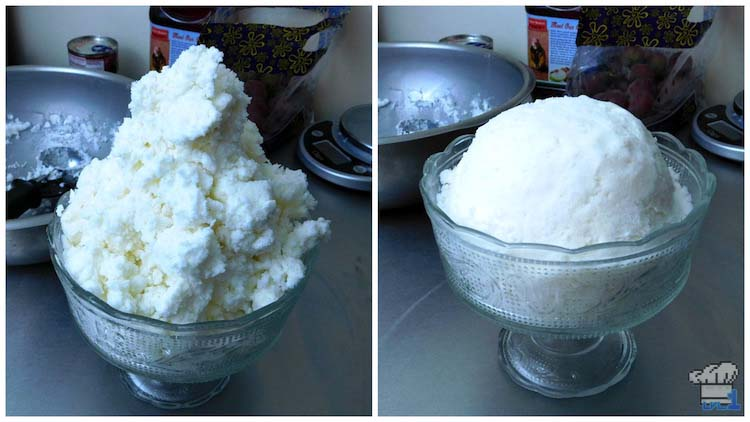 The snow ice cream has been packed tight into a dome shape in a large parfait dish for the Couple's Cake from the Super Mario Bros Paper Mario Thousand Year Door game series.