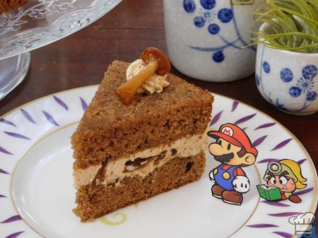 A slice of mushroom Shroom Cake from the Paper Mario Thousand Year Door game series.
