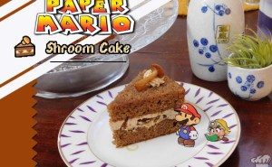 Cover photo of the finished recipe of mushroom Shroom Cake from the Super Mario Bros Paper Mario Thousand Year Door game series.