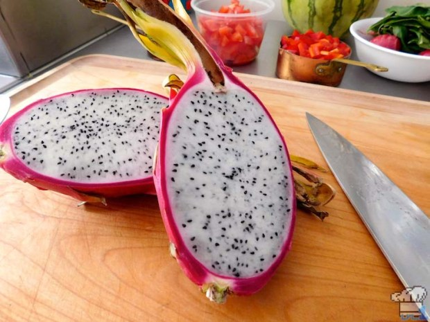 An interior shot of the beautifully seeded dragonfruit.