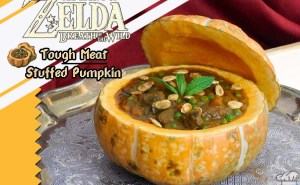 Finished tough meat stuffed pumpkin recipe from the Legend of Zelda Breath of the Wild game series compared to the pixel sprite of the in-game item.