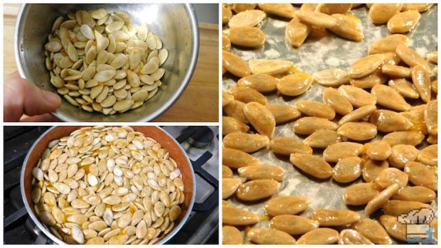 Toasting the pumpkin seeds in the oven with oil and salt to add them as garnish to the finished meat stuffed pumpkin recipe.