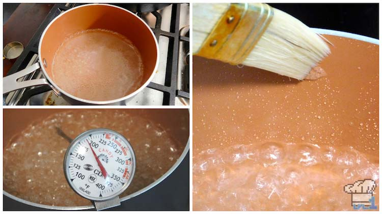 Heating the sugar to the correct temperature to then temper into the egg whites for the Monster Cake horns meringue.