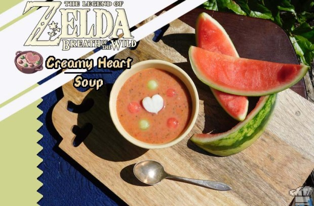 Finished recipe of the Creamy Heart Soup compared to the pixel sprite from the Legend of Zelda Breath of the Wild game series.