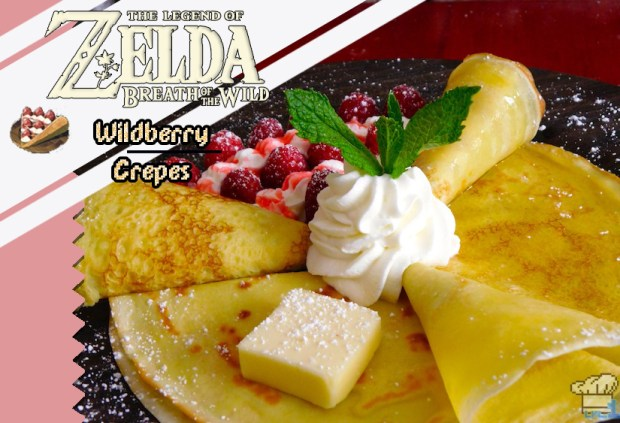 Finished recipe of the wild berry, honey and plain crepes recipes compared to the pixel sprite game item from the Legend of Zelda Breath of the Wild game series.