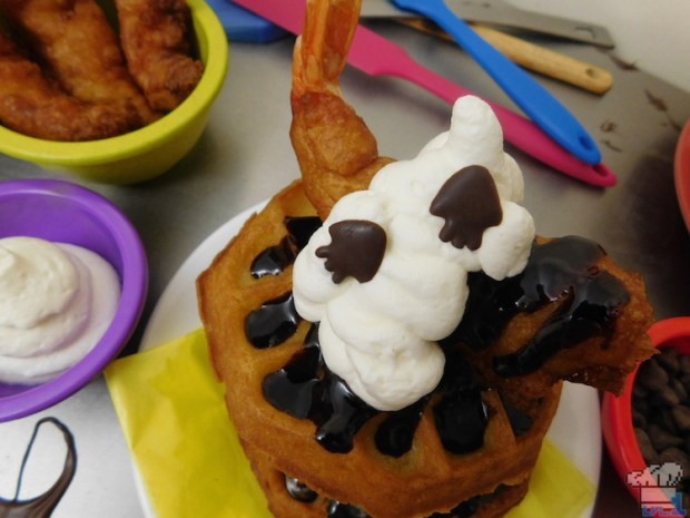 Home made chocolate squid sprinkles adorn the Deep Fried Super Shwaffle food item from the Splatoon video game series.