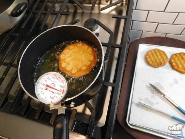 Deep frying the Eggo waffles to make them super crispy for the Super Shwaffle from the Splatoon video game series.