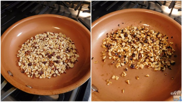 toasting the hazelnuts for the stuffing recipe for the stardew valley video game