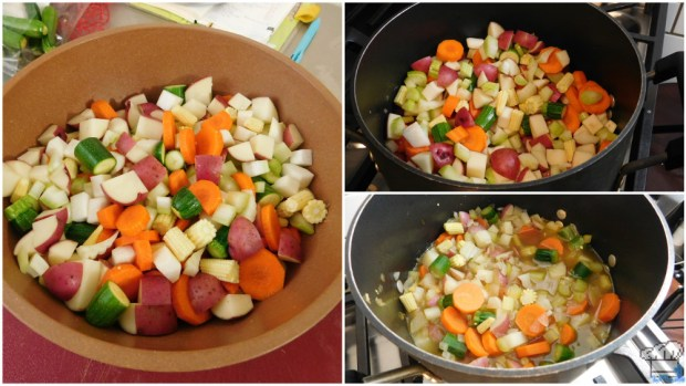 cooking the veggies for the stupendous stew recipe from the super mario odyssey video game