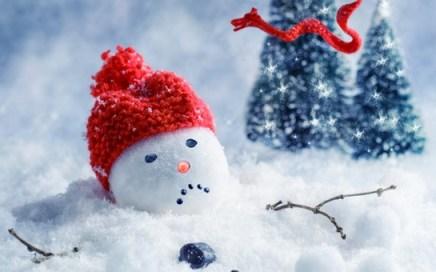 Foto van een sneeuwman die met een ongelukkig gezicht wegsmelt.