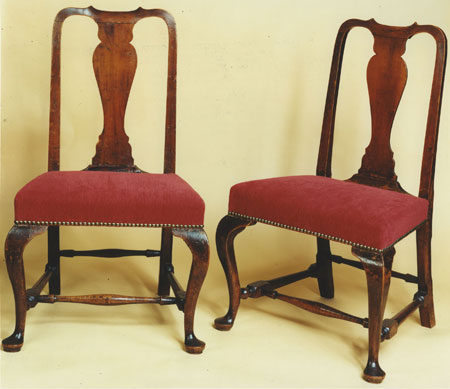 PAIR OF OVERUPHOLSTERED SEAT QUEEN ANNE SIDE CHAIRS