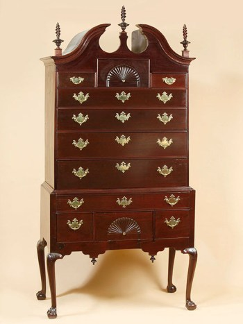 THE LOWELL, THAYER, FIELD FAMILIES CHIPPENDALE BONNET TOP HIGHBOY
