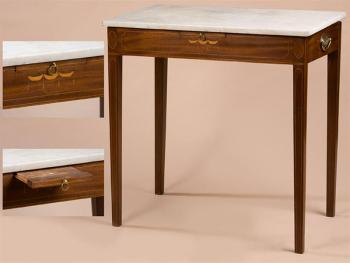 FEDERAL HEPPLEWHITE MARBLE TOP INLAID MIXING TABLE