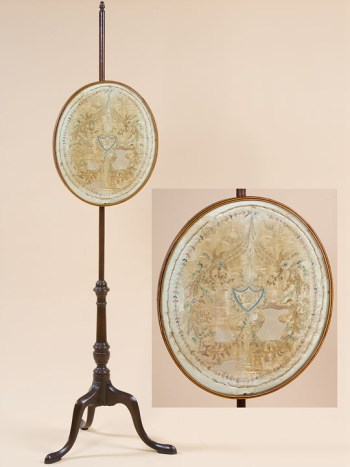 A RARE FEDERAL POLESCREEN WITH ITS ORIGINAL OVAL SILK SCREEN