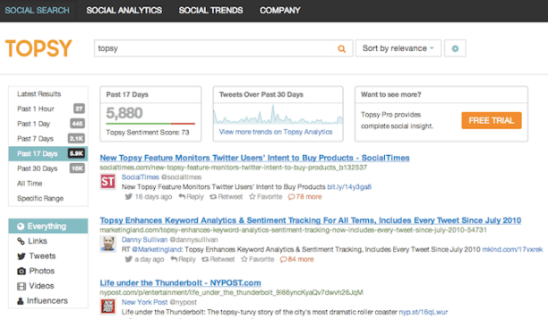 Topsy Homepage