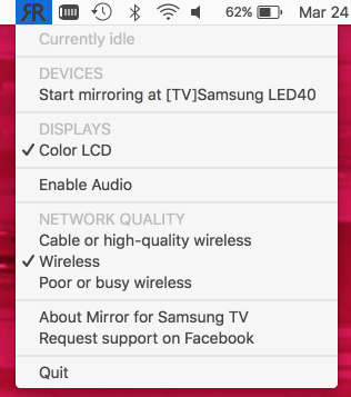 Mirror for Samsung TV - Menu su Mac OS X