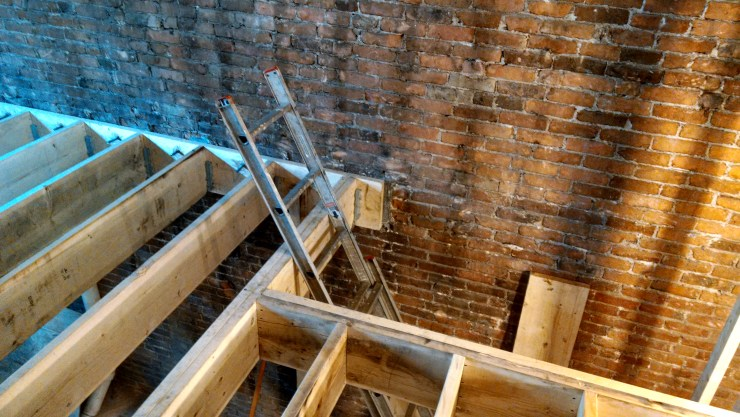 2014-04-04 new floor joists, street level - click to go to Construction Photos album