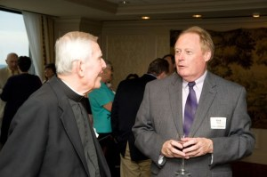 The late Bishop F. Joseph Gossman with Rich Reece, retired Editor of North Carolina Catholics