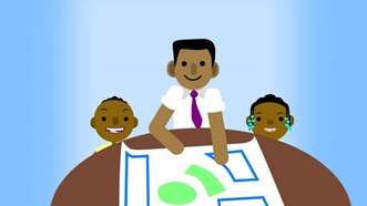 A digital animation image of two children looking at architectural plans