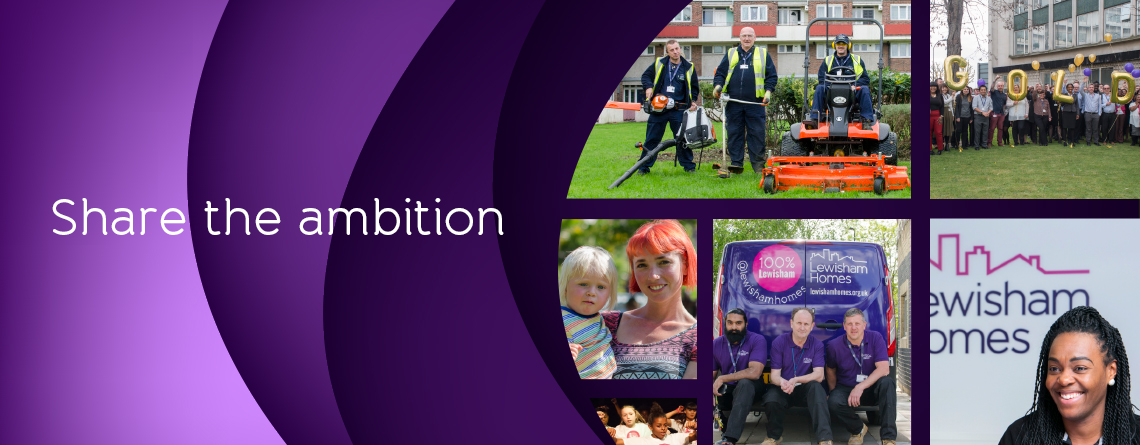 Banner image of staff from across the organisation with the words share the ambition written across it