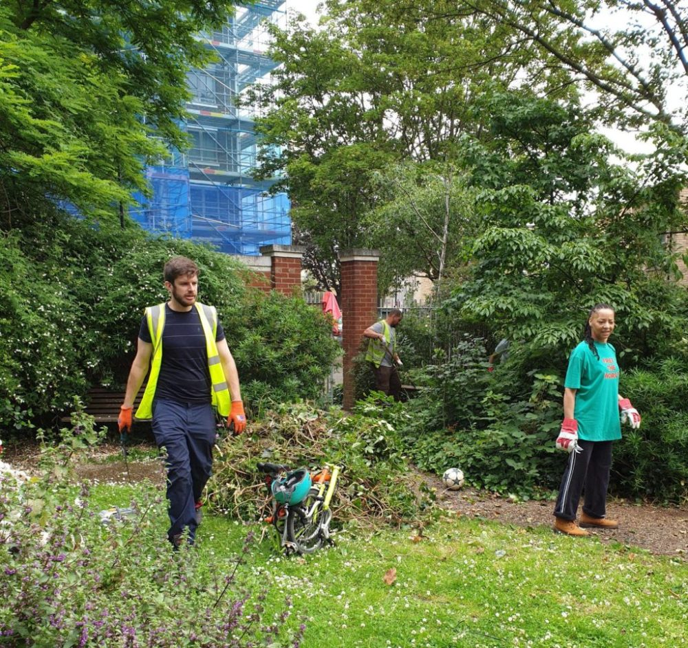LH staff and volunteers clear the garden