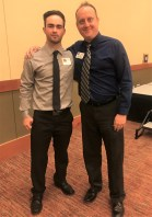 TwinStar Credit Union Scholarship recipient Cyrus Bunker with Shane Wood, Business Services Manager of TwinStar Credit Union. Photo credit: Centralia Chehalis Chamber of Commerce.