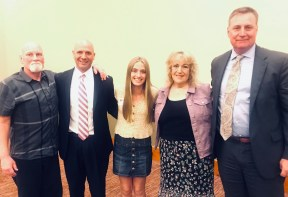 Bob Calvert; Peter Abbarno, Attorney at Althauser Rayan Abbarno, LLP; Cheyllyn Collinsworth Scholarship recipient Anastasia Ulrigg; Deborah Collinsworth; Todd Rayan, Attorney at Althauser Rayan Abbarno. Photo credit: Centralia Chehalis Chamber of Commerce.