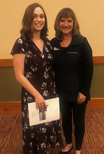 Title Guaranty Co. of Lewis County Scholarship recipient Kendra Sutton with Meri Hamre, Manager of Title Guaranty Co. of Lewis County. Photo credit: Centralia Chehalis Chamber of Commerce.