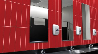 Red Pepper 4x16 Wall Tile in Bathroom