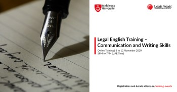 LEGAL ENGLISH COURSE: Communication and Writing Skills | Online Training | 8 to 12 November 2020