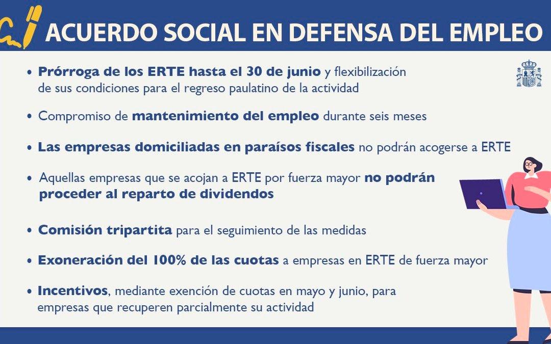 Los ERTE por fuerza mayor se prolongan hasta el 30 de junio y otras medidas en defensa del empleo.