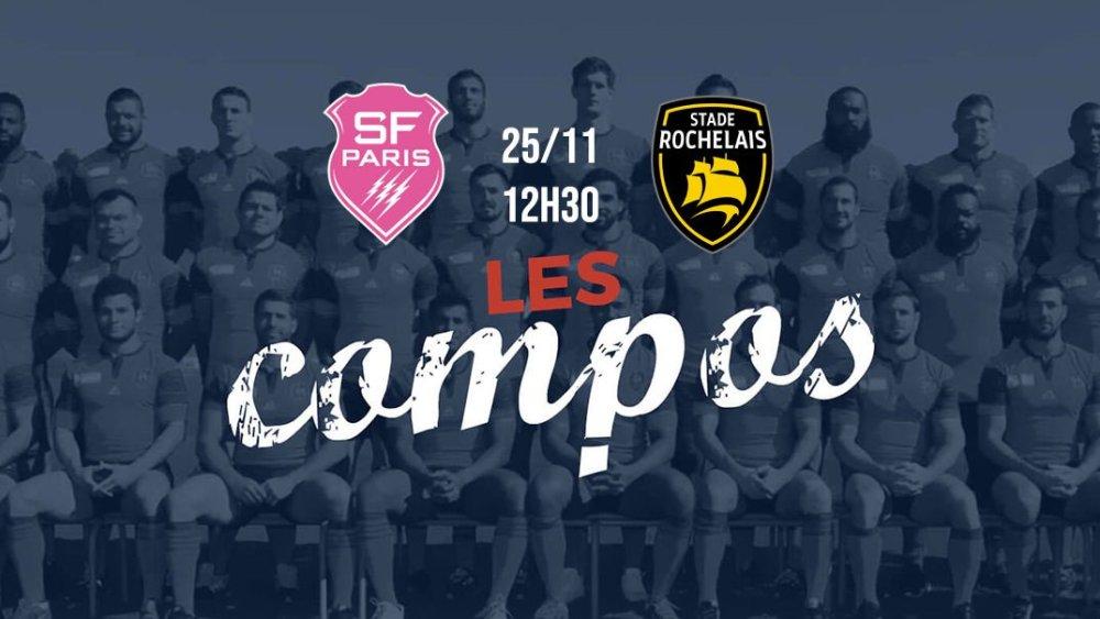 les compos stade français vs la rochelle xv de départ 15 top 14 rugby