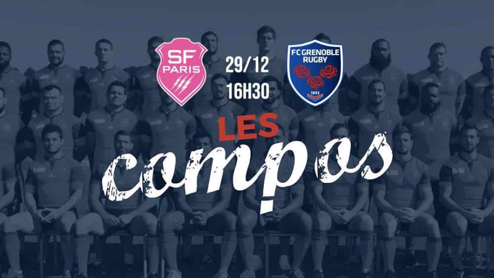 les formations Stade français vs grenoble rugby france xv de départ 15