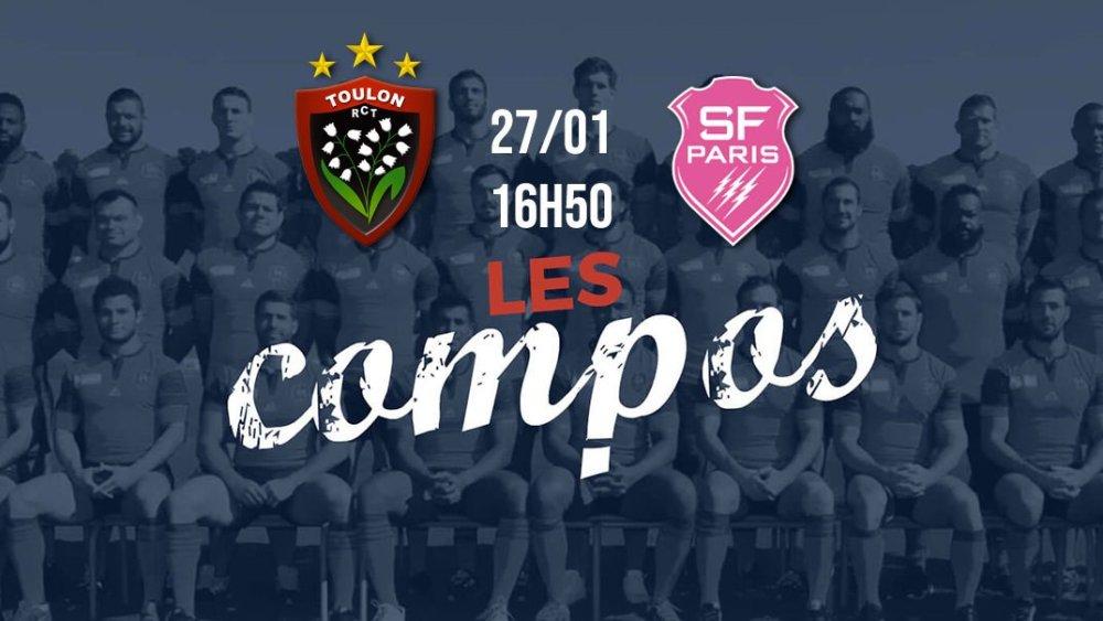 les équipes toulon vs stade français rugby top 14 xv de départ 15