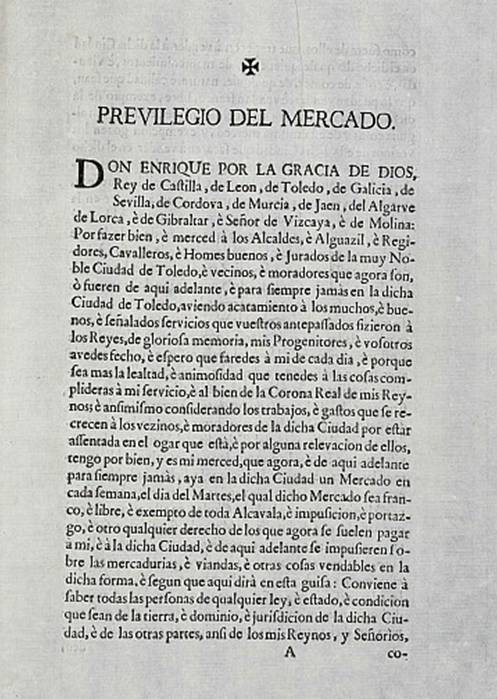 Privilegio del Mercado en Toledo. Archivo Municipal de Toledo