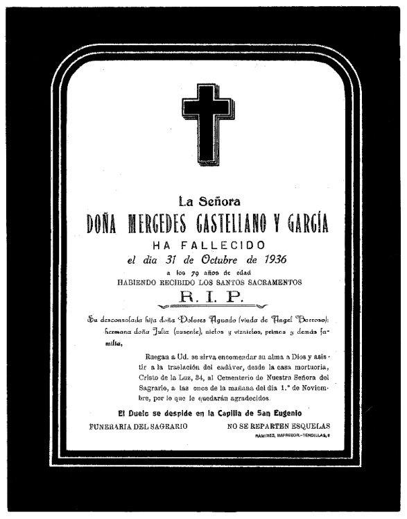 Esquela de Mercedes Castellano García Archivo Municipal de Toledo
