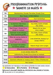 Programmation Samedi festival Lézard Ti Show 2017