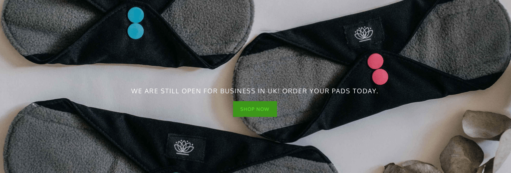 Black washable sanitary pads by Floating Lotus