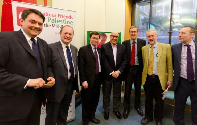LFPME supporters at the Parliamentary reception with Stephen Twigg, Douglas Alexander, Manuel Hassassian, Martin Linton and Jeremy Corbyn.