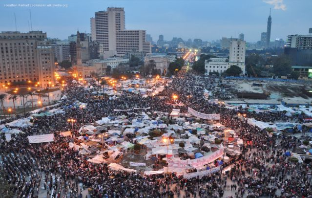 Over 1 million protestors gather in Tahrir Square demanding the removal of the regime and for Hosni Mubarak to step down. Image taken 2 February 2011, Egypt.