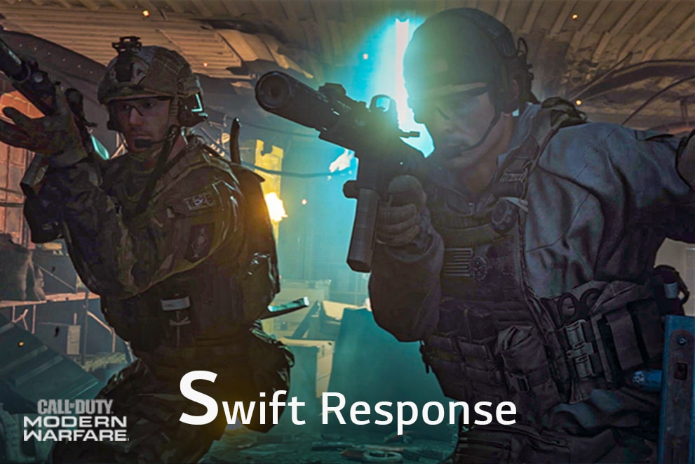"""A gaming scene of the Call of Duty, labeled""""Swift Response"""""""