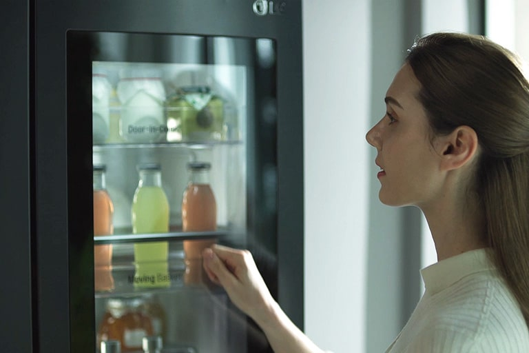 Check the inside of the refrigerator by knocking twice without opening the door.