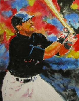 """© Laura Gabel. """"The Slugger"""" , Pastel and Watercolor, 11 x 14. Private Collection."""