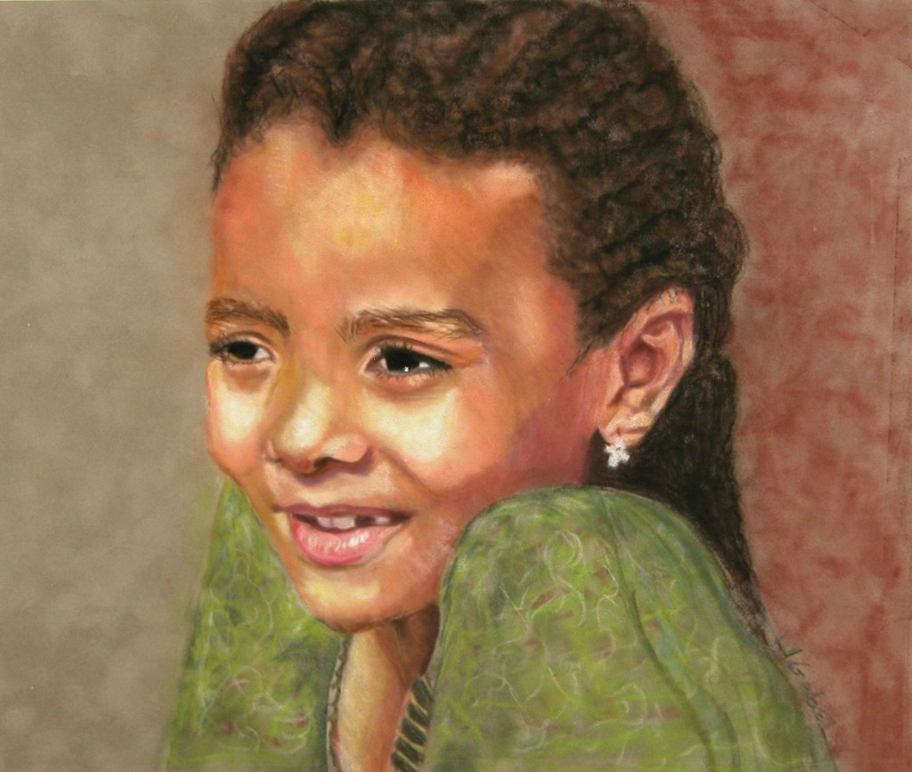 """© Laura Gabel, """"Little Evie"""". Pastel, 17 x 15. Private Collection."""