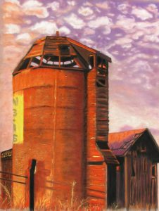 "© Laura Gabel, ""Sunset Silo"". Pastel on UArt. Private collection."