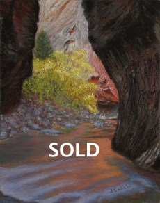 """© Laura Gabel, """"Apricot Canyon 1"""". Textured pastel, 16 x 20. Private collection."""